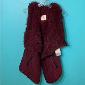 Fluffy Wine Colored Vest